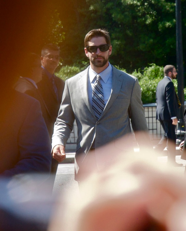 Aaron Rodgers before boarding the team bus after the White House visit.