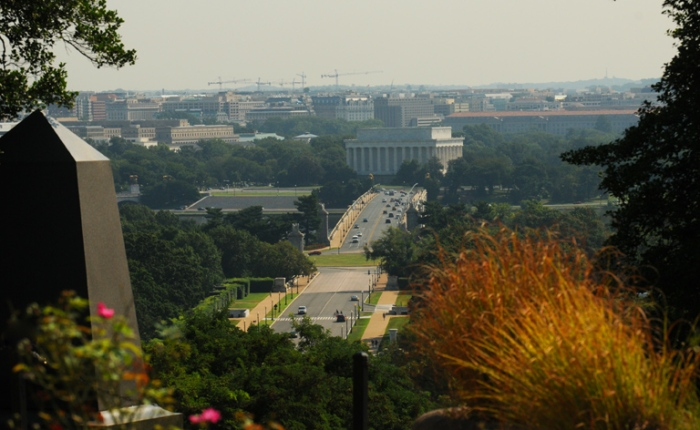 If you walk to the Arlington House, which is atop a pretty steep hill, you will also get a pretty nice view of downtown Washington.