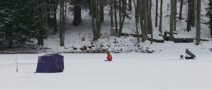 Ice fishing can be good for groups or for people seeking the quiet solitude of a frozen lake as this person experienced last winter.