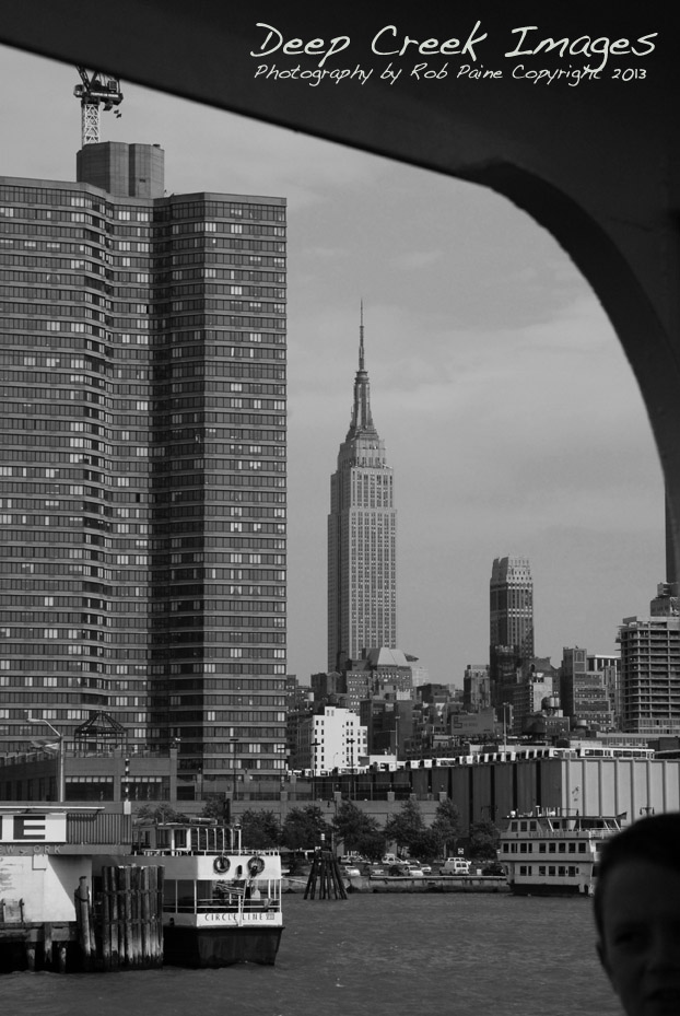 The Empire State Building as framed from a Circle Cruise Line boat.