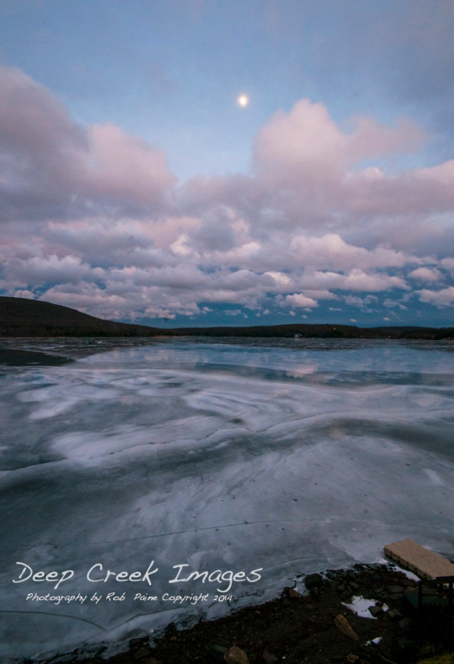 winter sunset deep creek lake rob paine