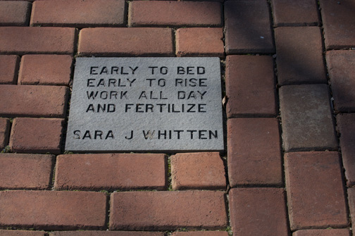 One of the engraves stones on the side walk at Lewis Ginter Botanical Garden.